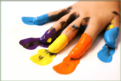 coloured fingers at school